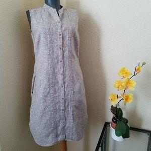 L.L. Bean Khaki White Paisley Print Linen Dress